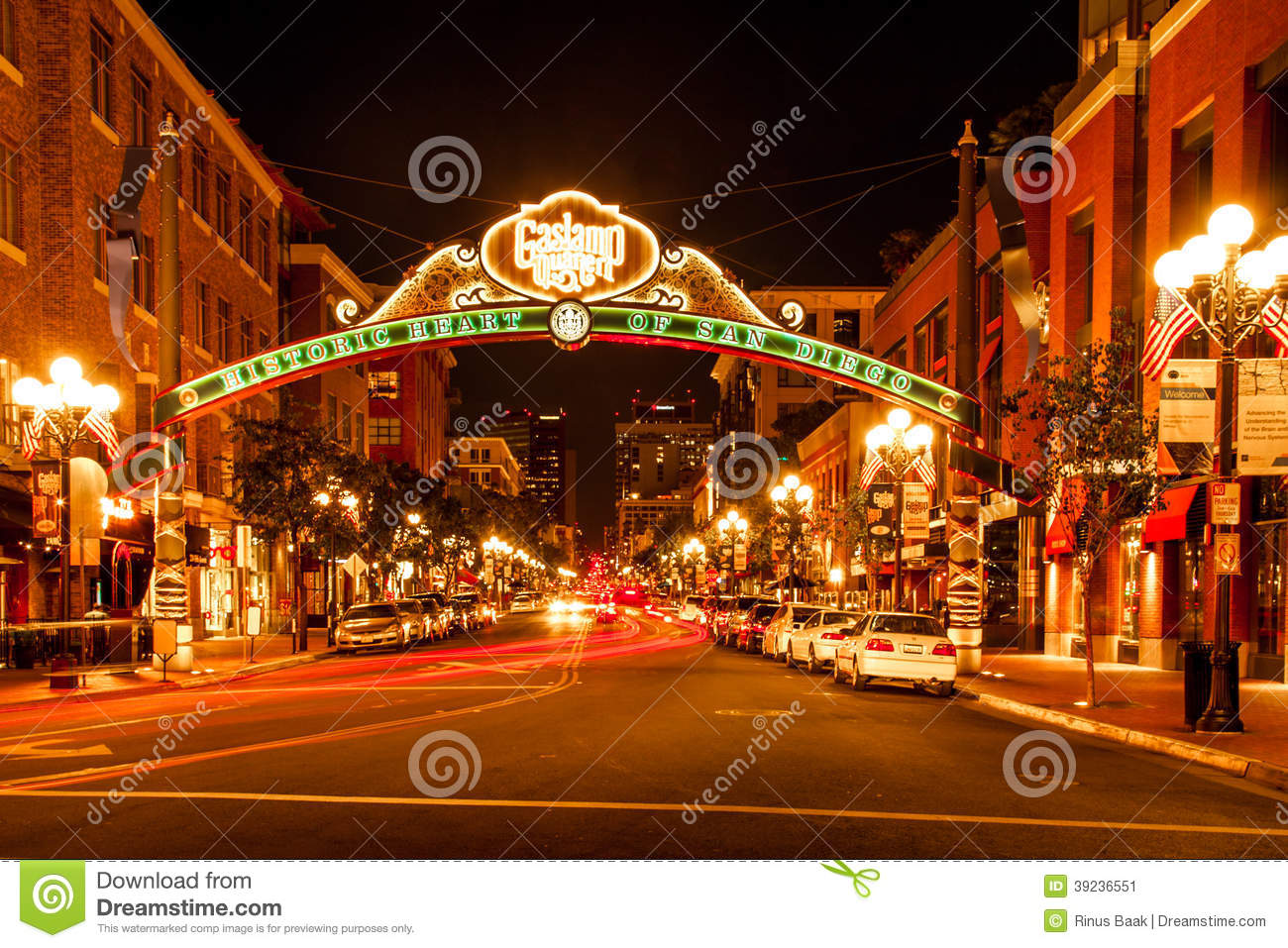 Gas Prices San Diego >> Gaslamp District editorial photo. Image of traffic, dusk ...