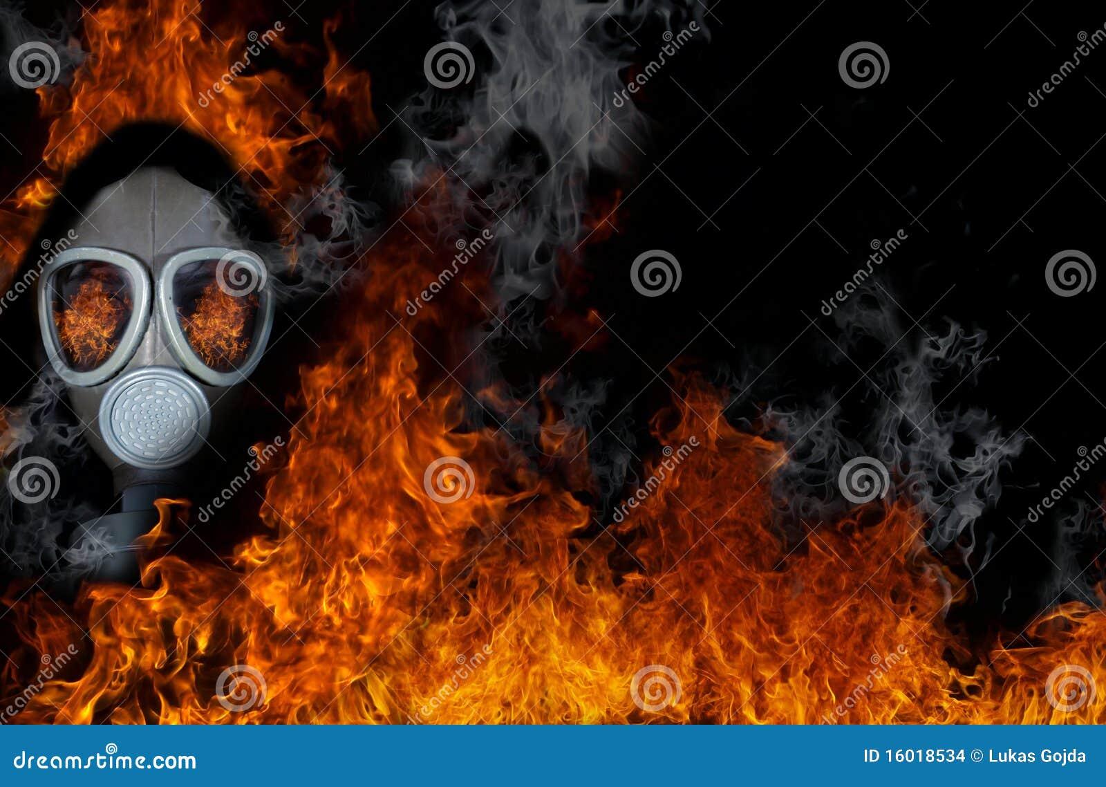Gasmasker met brand