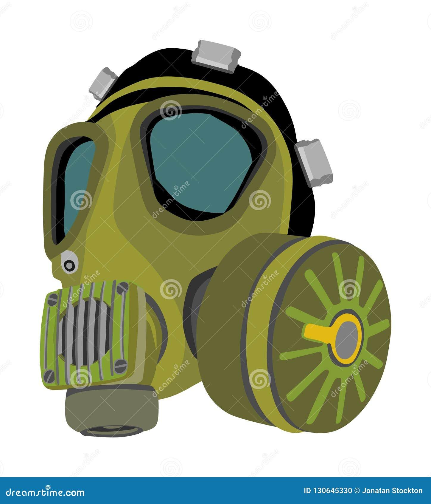 Gasmaskillustration som isoleras på vit bakgrund Bio farautrustning mot luftförorening