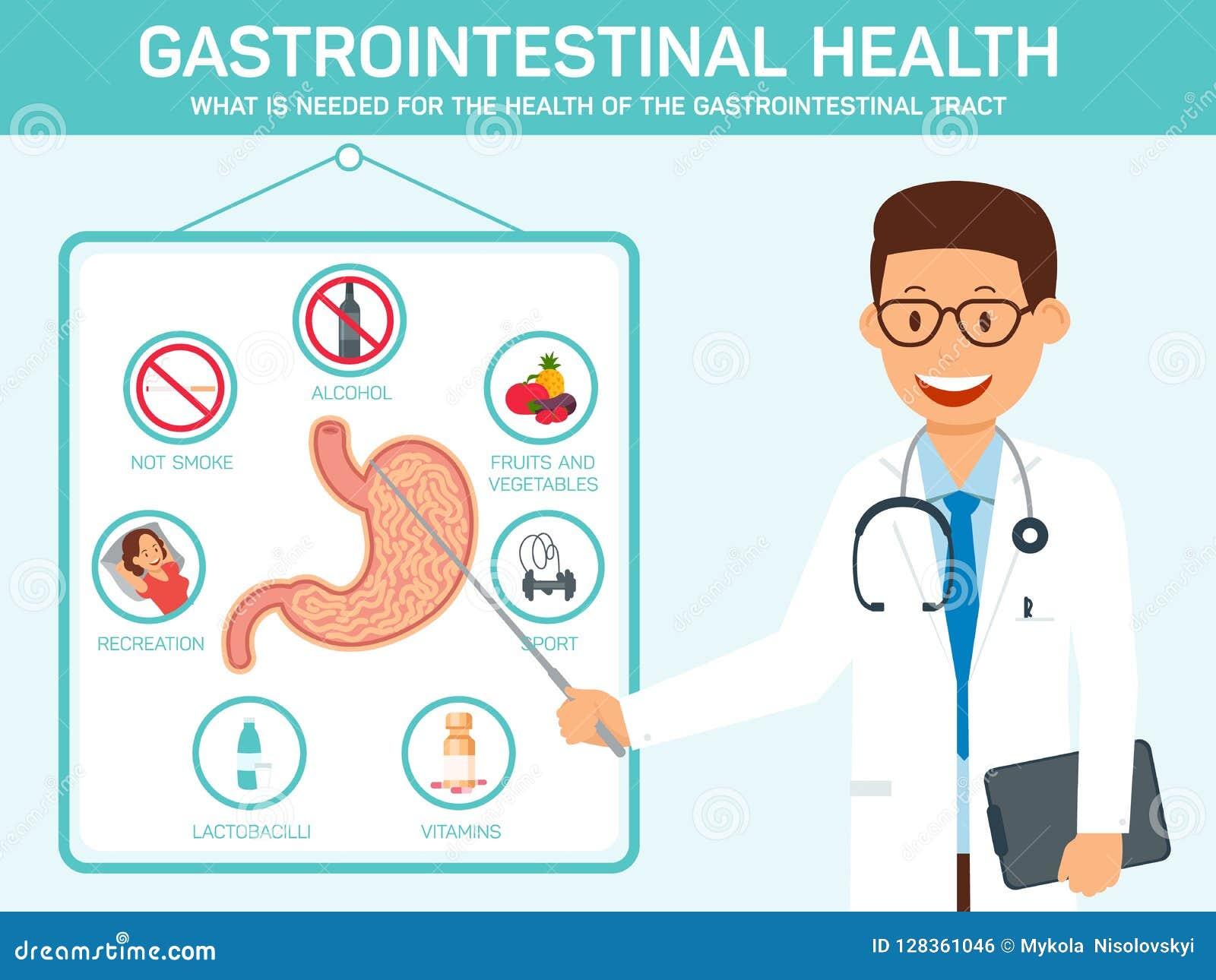 Gastrointestinal Health. Vector Flat Illustration.