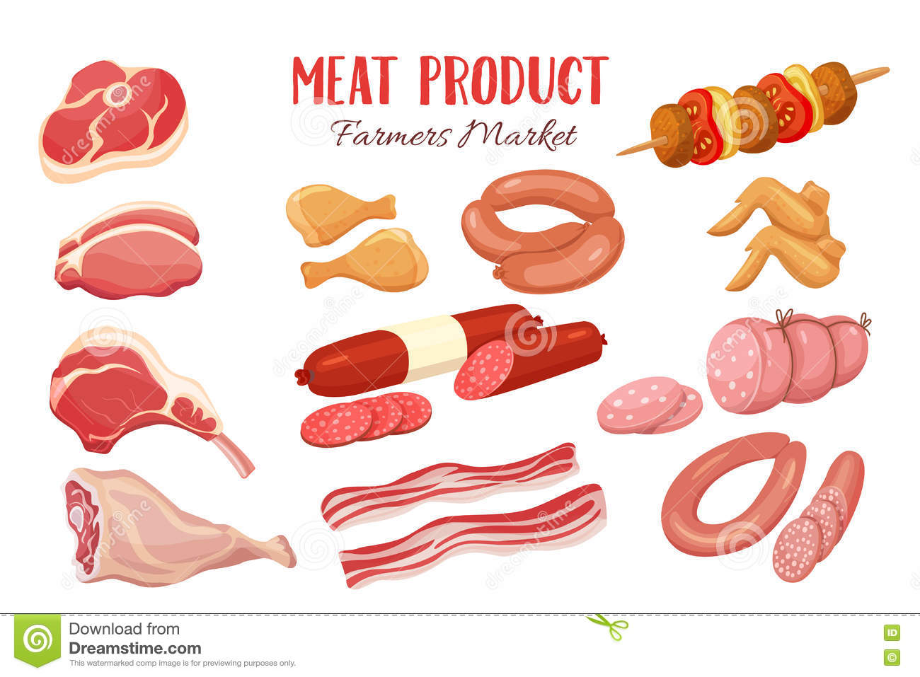 gastronomic meat products in cartoon style stock vector