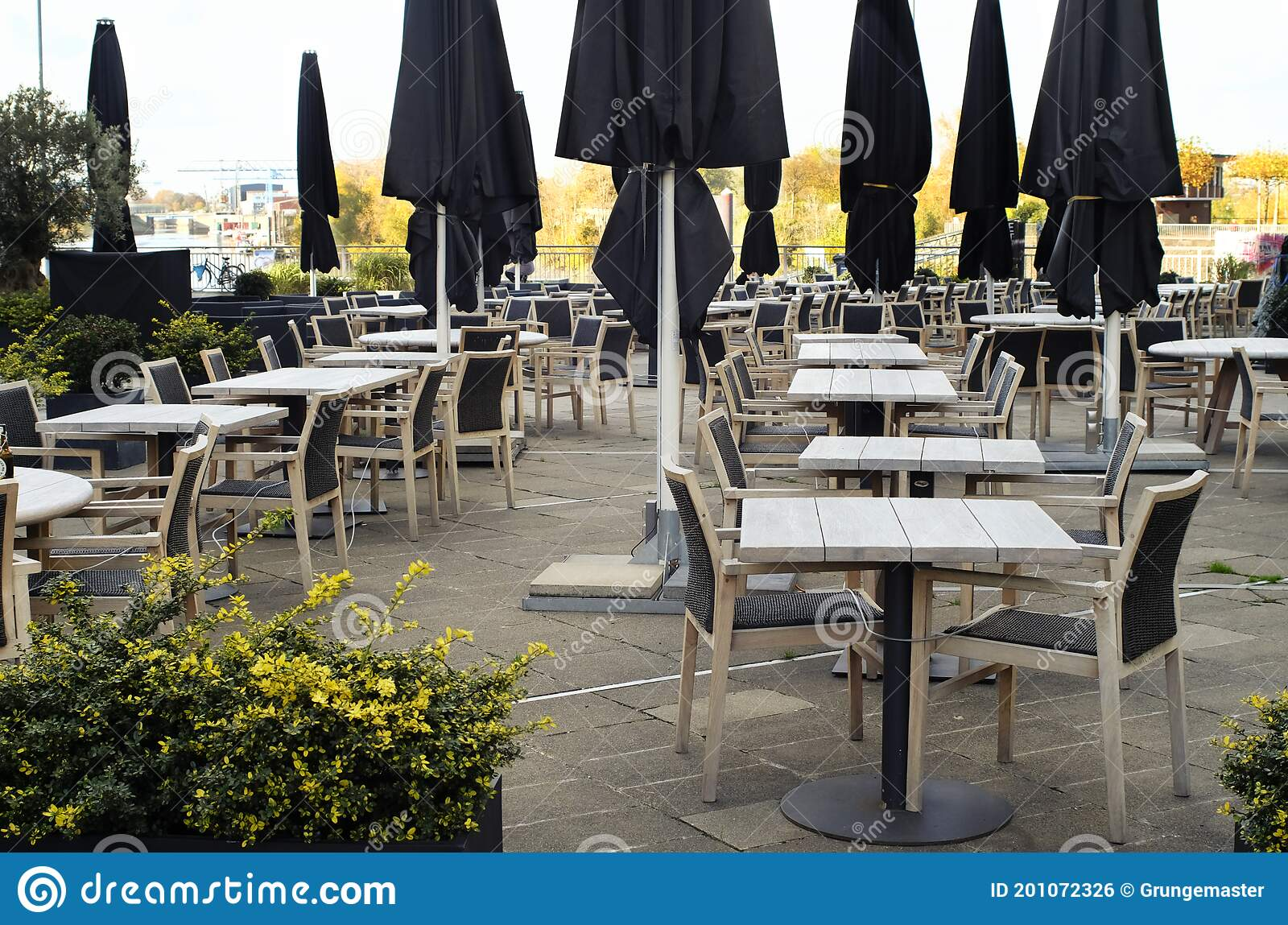 Gastronomy Lockdown Closed Restaurant Outdoor Terrace In Germany Due To Corona Epidemic Chairs And Tables No Guests Symbol Stock Photo Image Of Epidemic Food 201072326