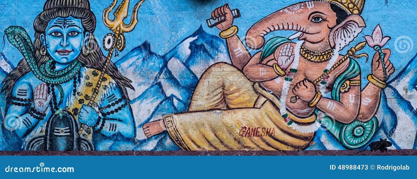 Gata Art Mural av hinduiska gudar i Varanasi, Indien