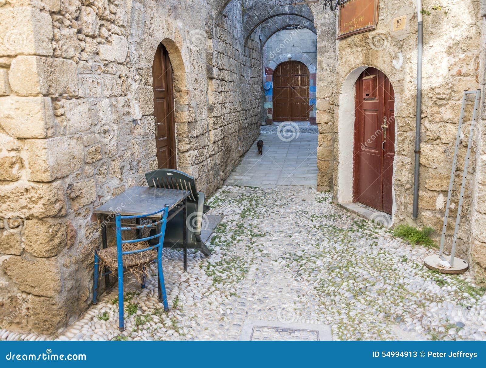 Gata i Rhodes den gamla staden, Grekland