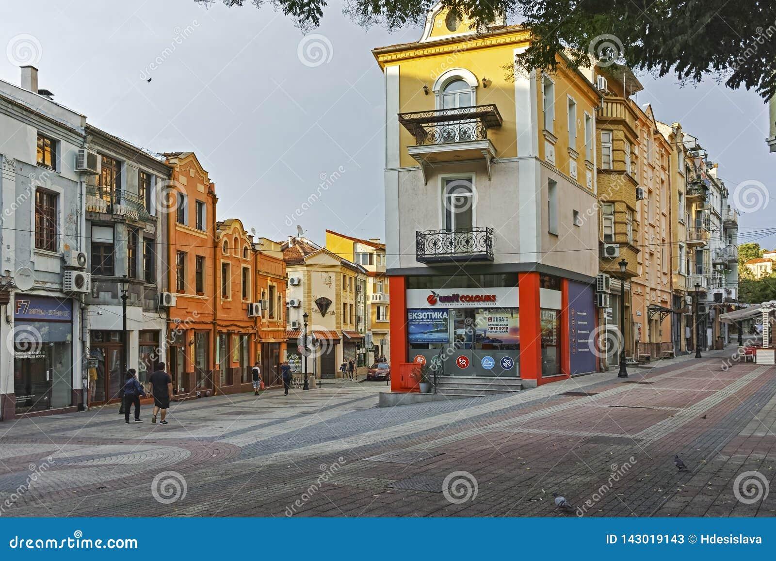 Gata och hus i området Kapana, stad av Plovdiv, Bulgarien