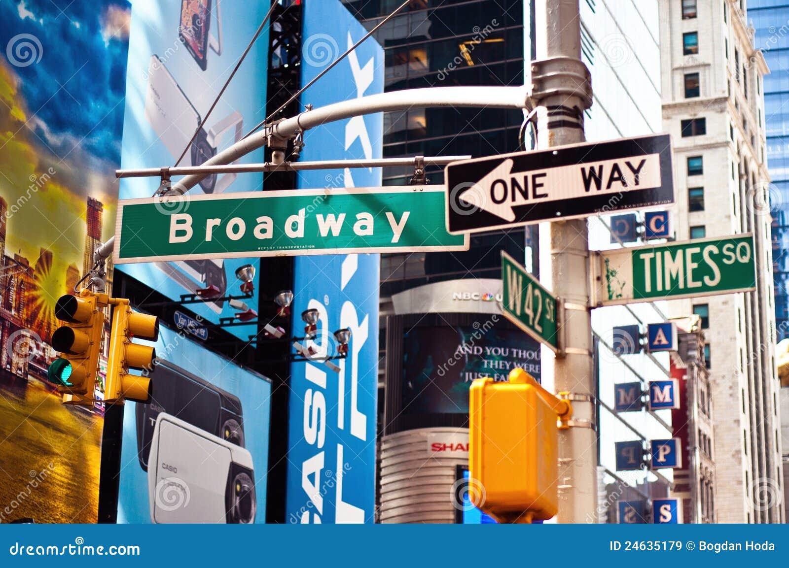 Gata york för tecken för broadway stad ny