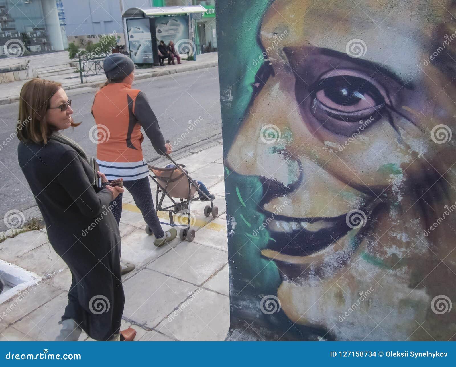 Gatakonstbegrepp Grafitti på väggen Gata som utformas av väggmålning Gatakonstbackround