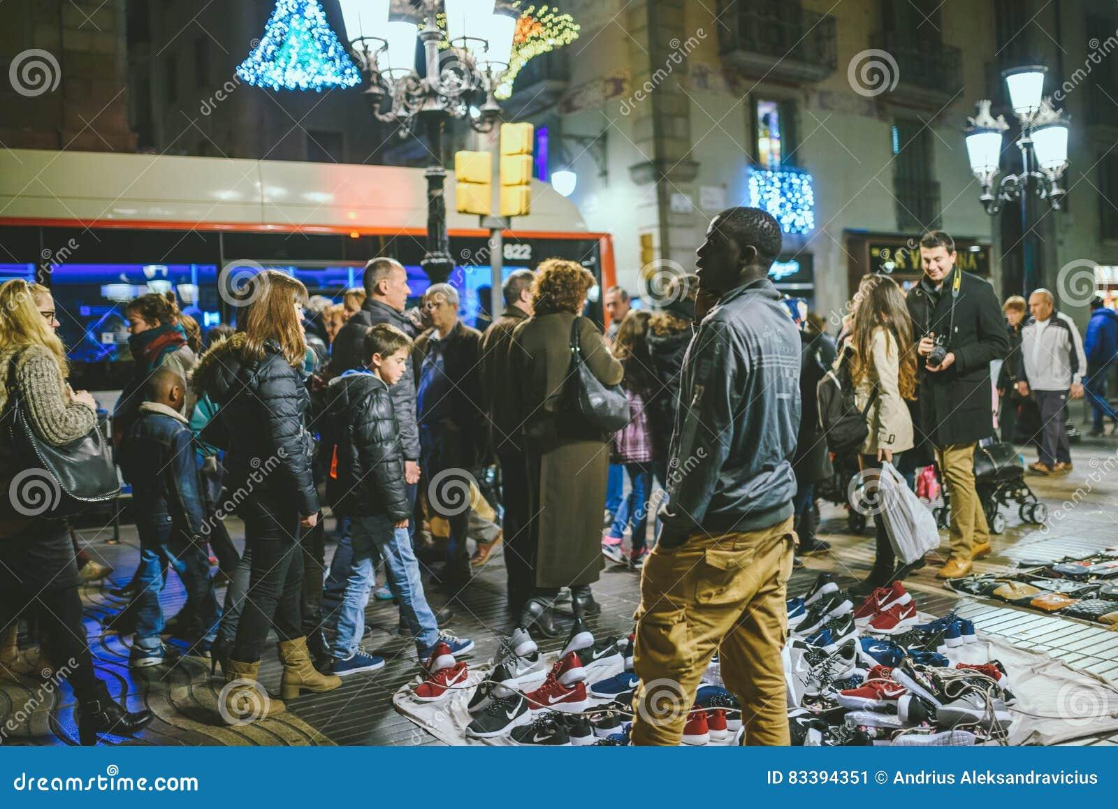 Gatamarknad i Bacelona, Spanien