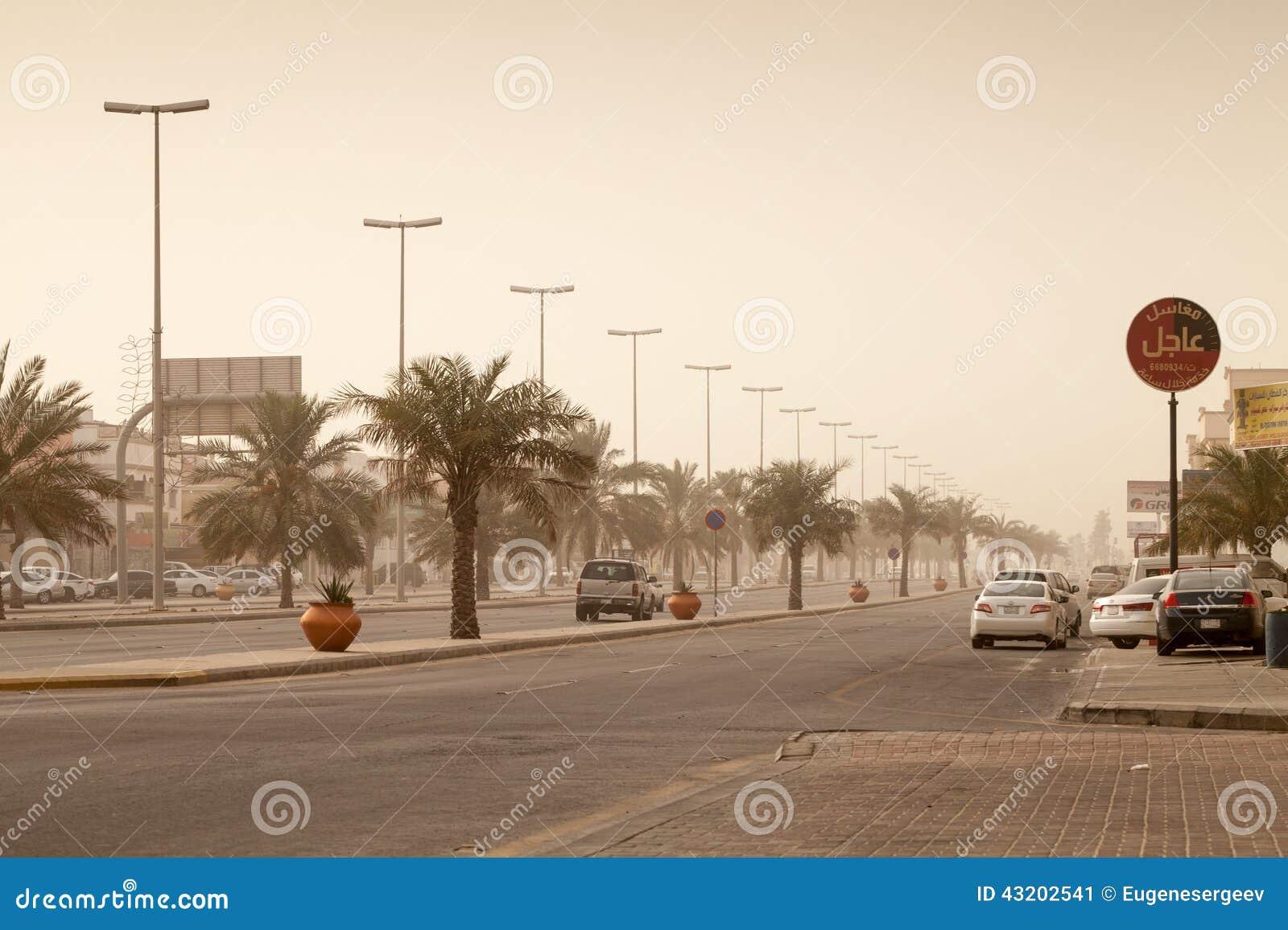 Download Gatasikten Med Bilar Och Gömma I Handflatan, Stormbyn I Saudiarabien Redaktionell Bild - Bild av sand, medel: 43202541