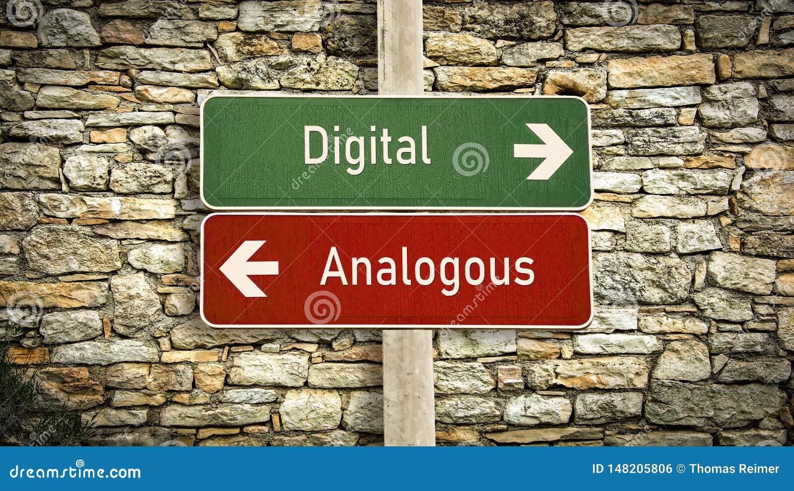 Gatatecken till kontra motsvarande Digital
