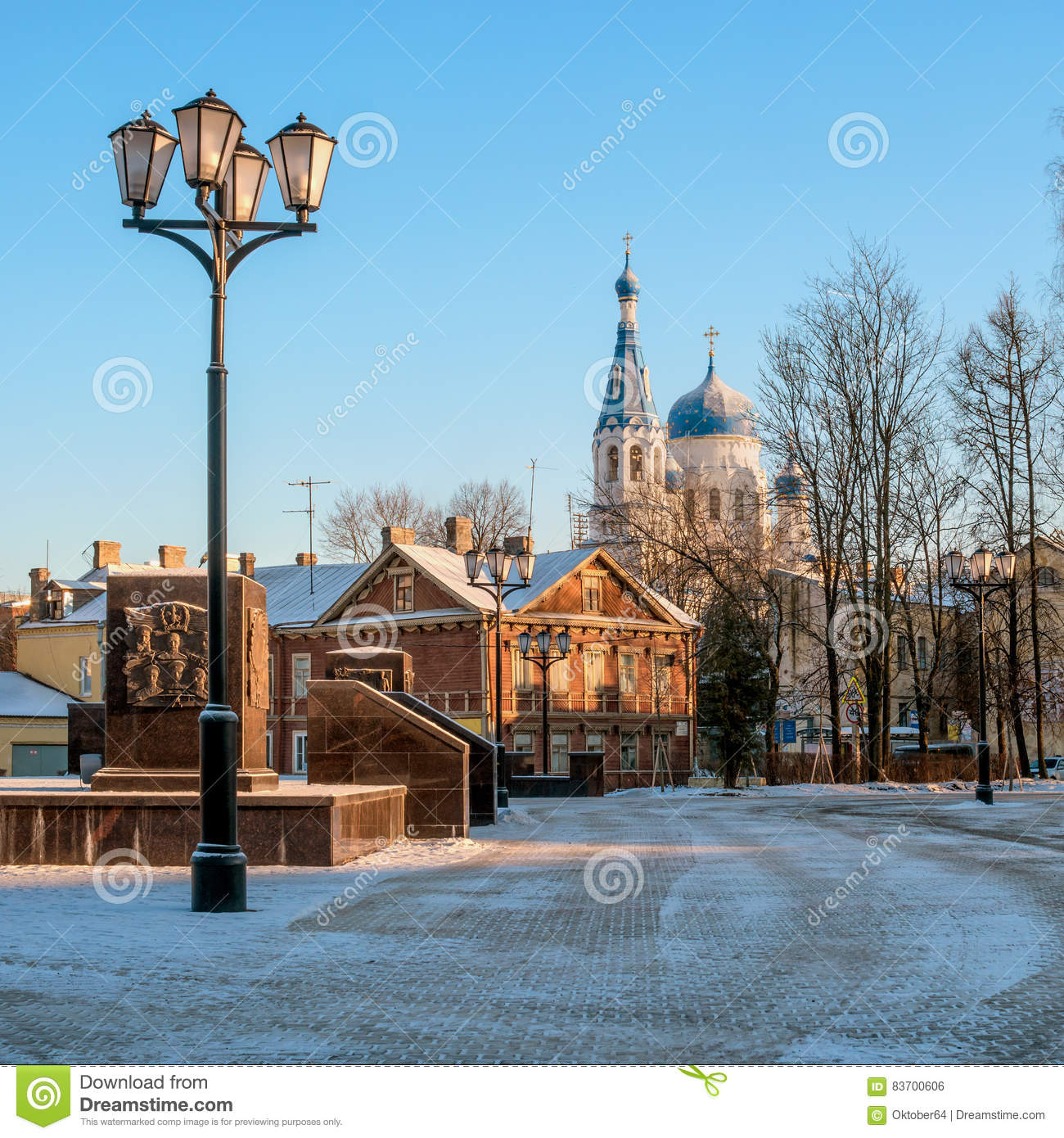 Gatchina, Russia - A View Of The St. Basil`s Cathedral, Left A Fragment Of The Monument To The -City Of Military Glory Stock Photo