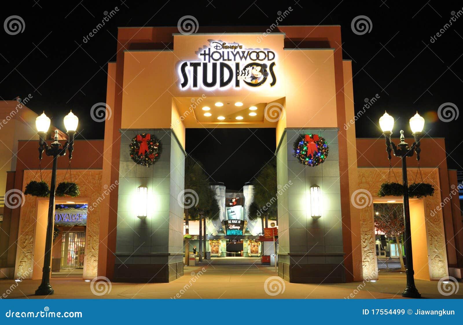 Gate Of Disney Hollywood Studios At Night Editorial Stock