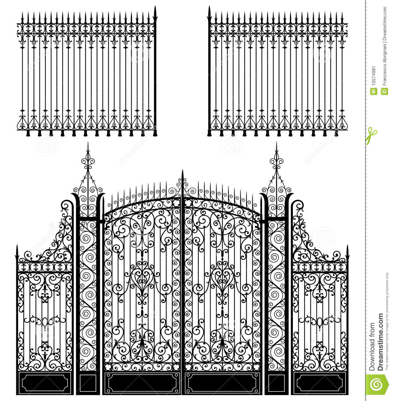 Gate And Fence Stock Vector Illustration Of Retro