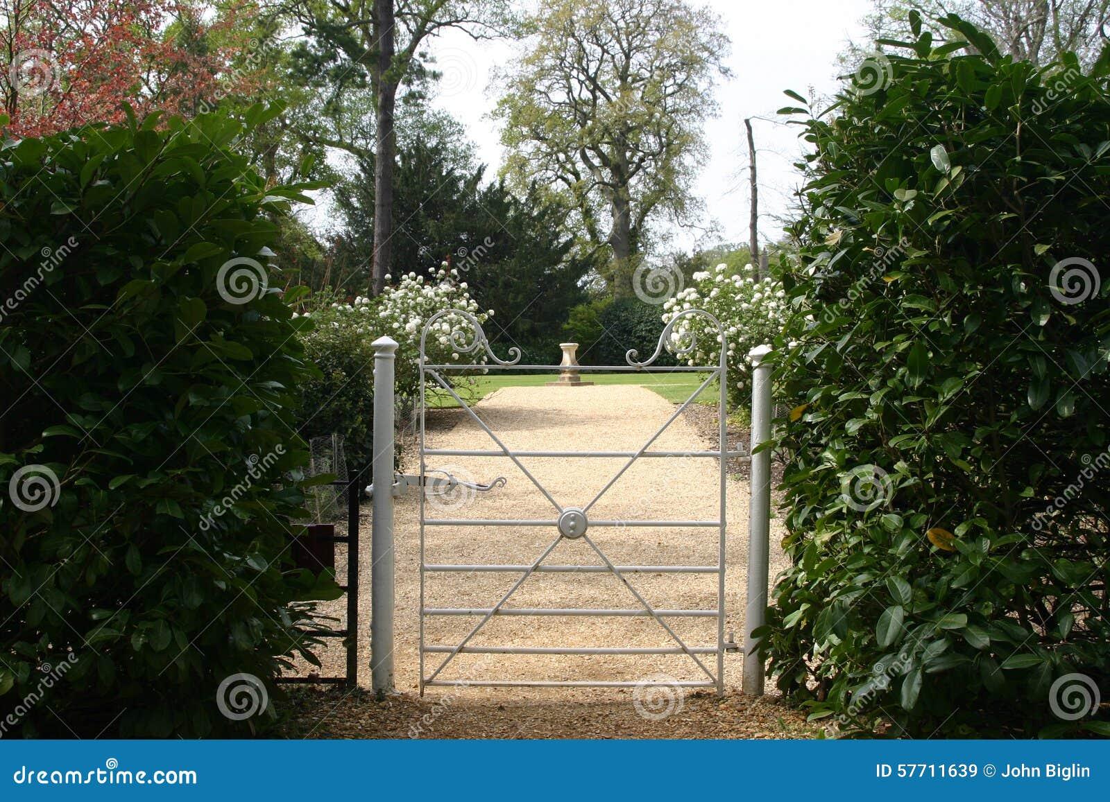 Gate opening into garden