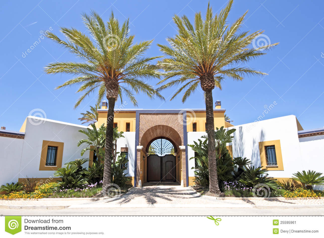 Gate with palm trees stock image