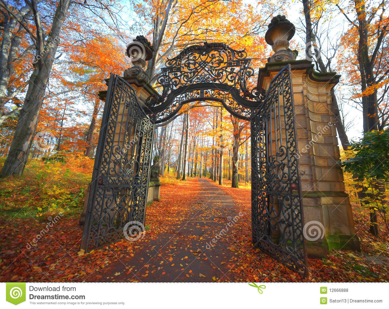 Gate In Park Royalty Free Stock Photos Image 12666888
