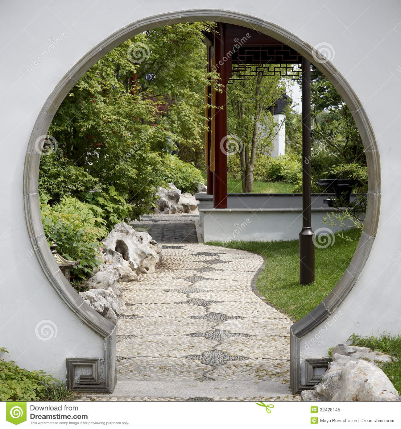 Garden Stock Image Image Of Design: Gate To Japanese Garden Stock Image. Image Of Architecture