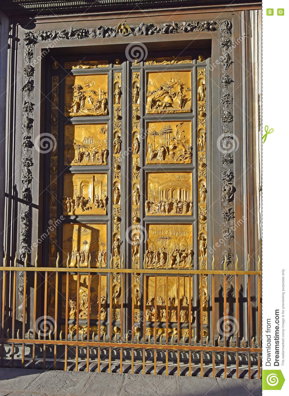 baptistery cathedral del doors duomo east fiore florence ... & Gates Of Paradise By Lorenzo Ghiberti Florence Stock Photo ... Pezcame.Com