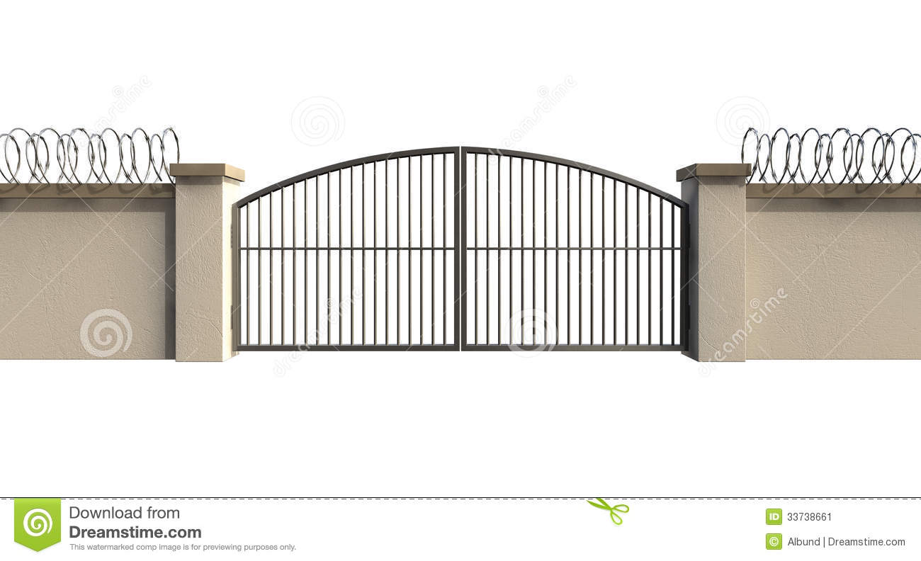 Black Gate Wall Decor : Gates and wall with razor wire stock image