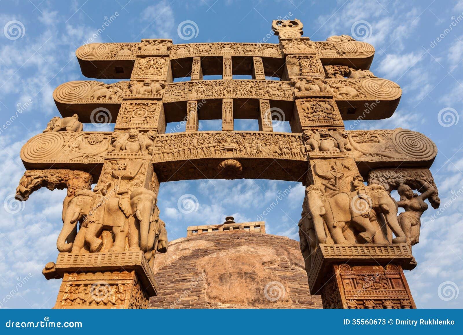 Gateway decoration great stupa sanchi madhya pradesh for Ancient decoration