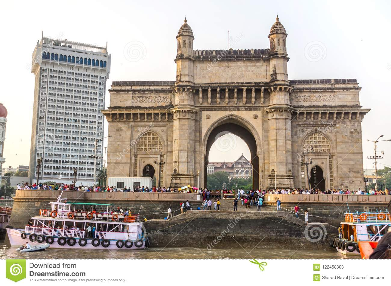 The Gateway Of India And Boats In The Background Taj Mahal