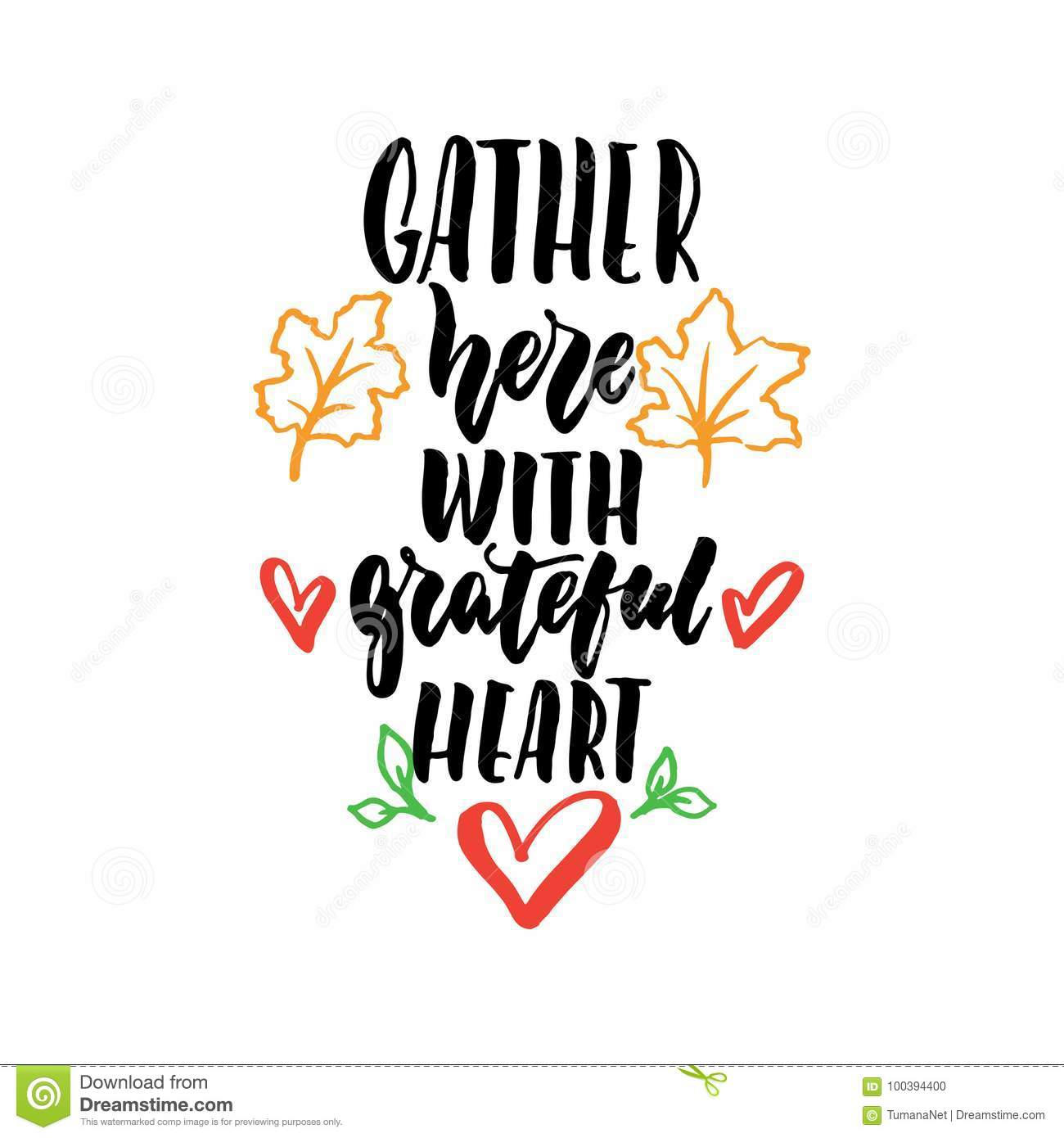 Gather here with grateful heart - Thanksgiving hand drawn lettering quote isolated on the white background. Fun brush