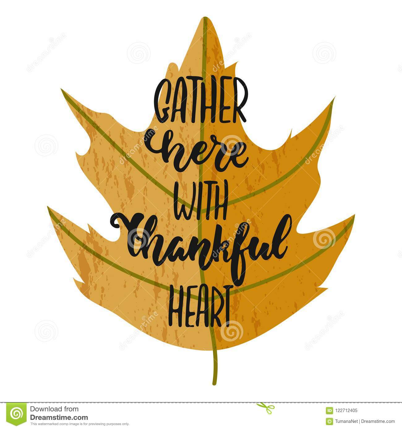 Gather here with thankful heart - hand drawn Autumn seasons Thanksgiving holiday lettering phrase isolated on the white