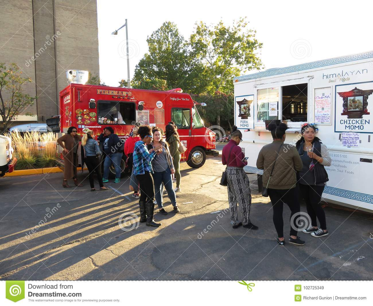 Gathering By The Food Trucks Editorial Stock Image Image