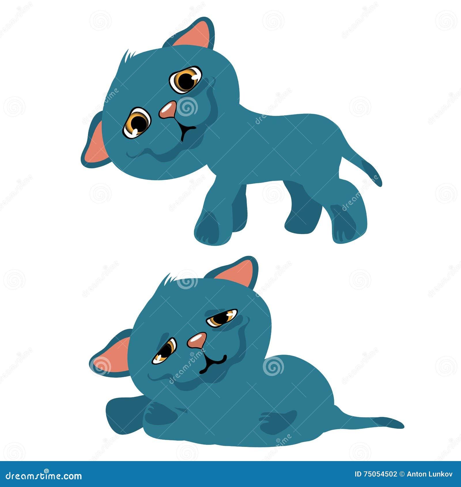Gatito azul triste, animación de la historieta del vector