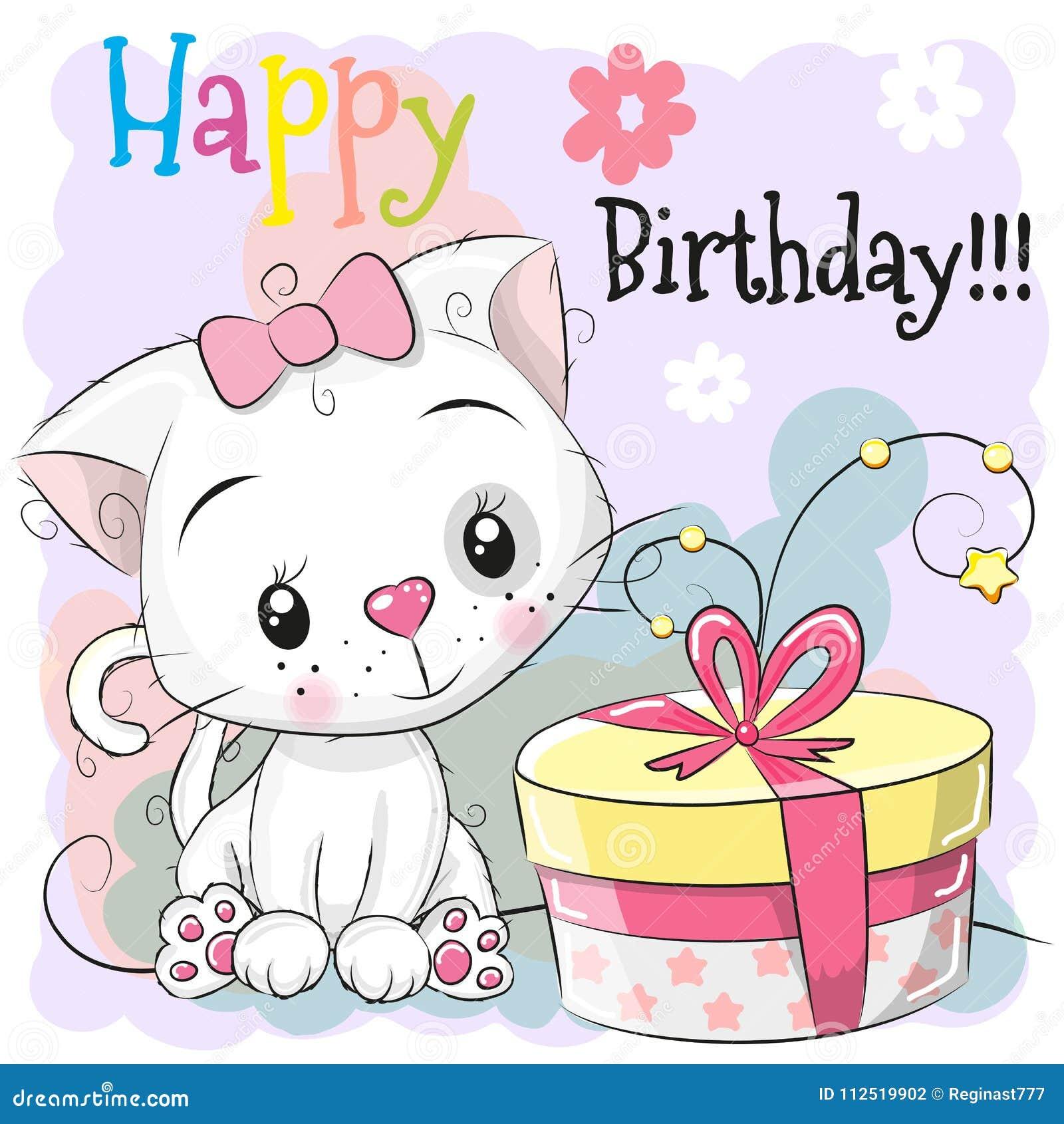 3403fee374243 Gatito blanco de la historieta linda de la tarjeta de cumpleaños del saludo  con el regalo