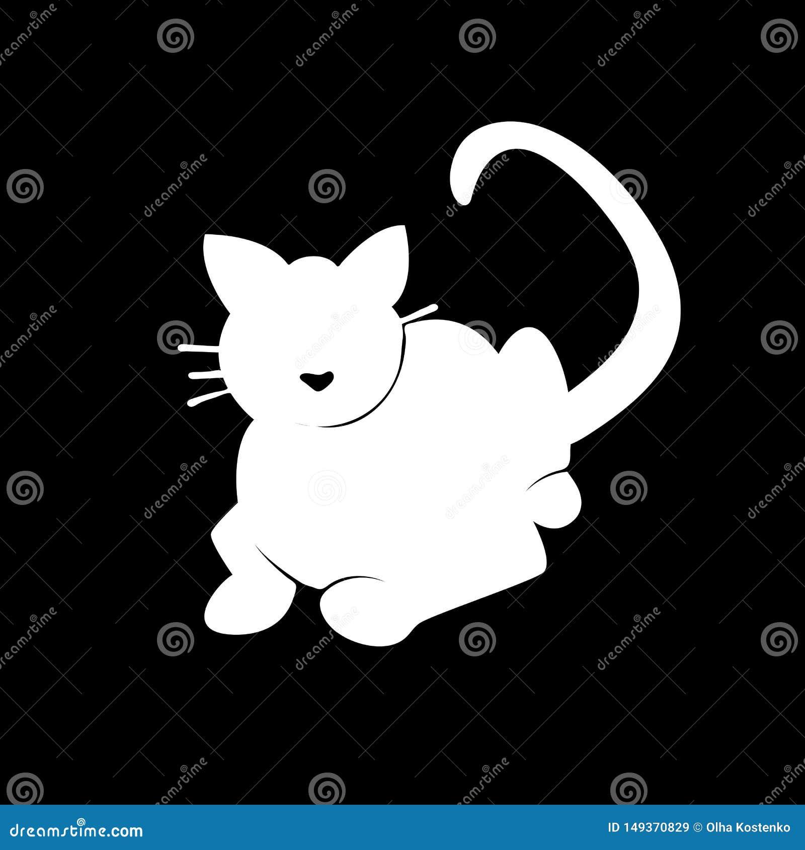 Gato blanco de la silueta en fondo negro