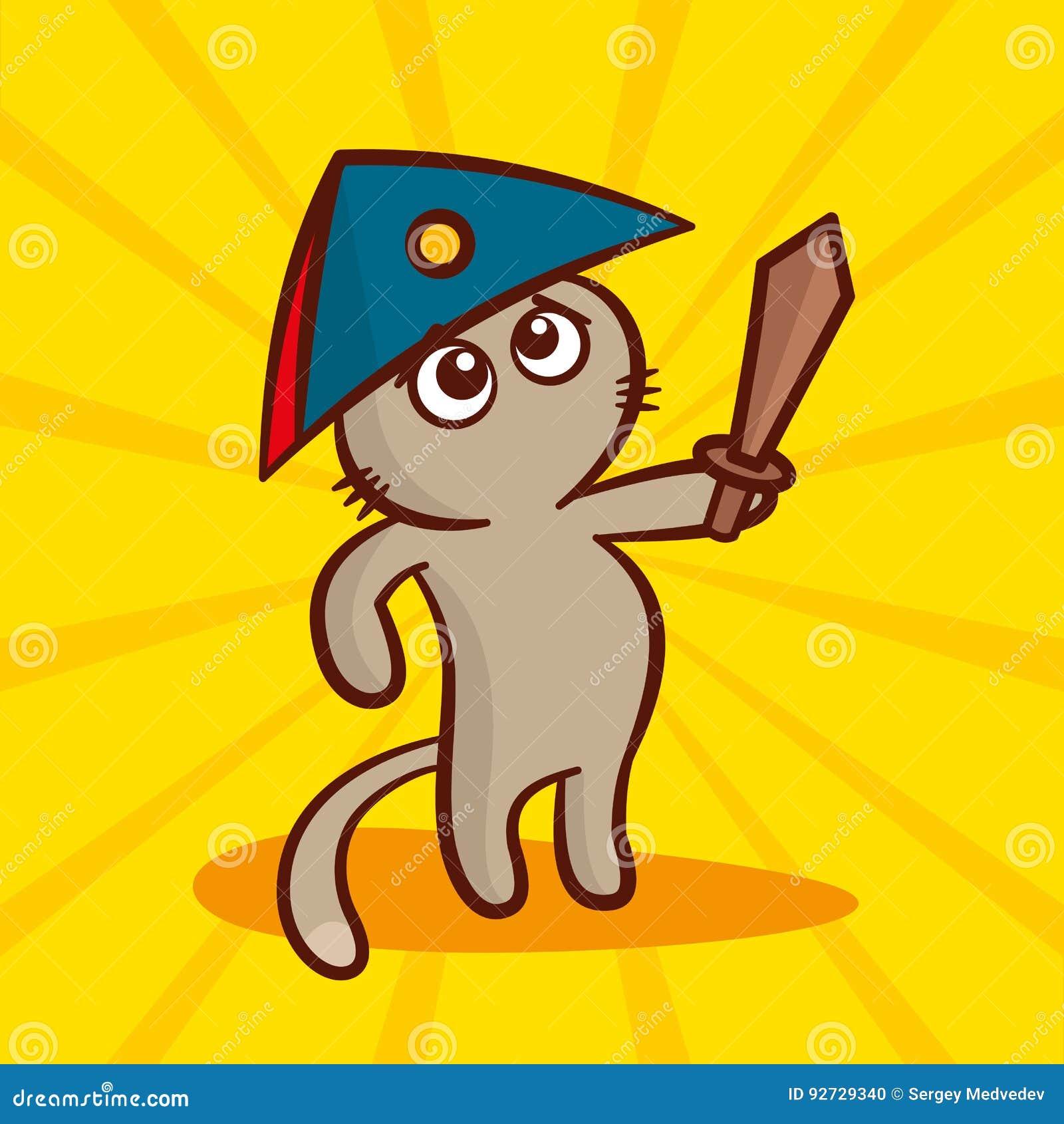 Gato Bonito Dos Desenhos Animados Em Um Chapeu Armado Com Uma