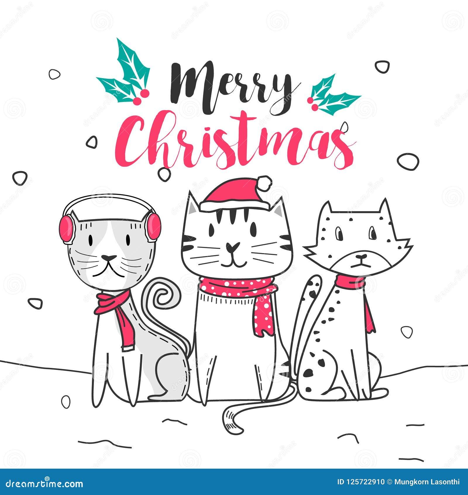 Gato Bonito E Feliz Natal Com Estilo Dos Desenhos Animados Da