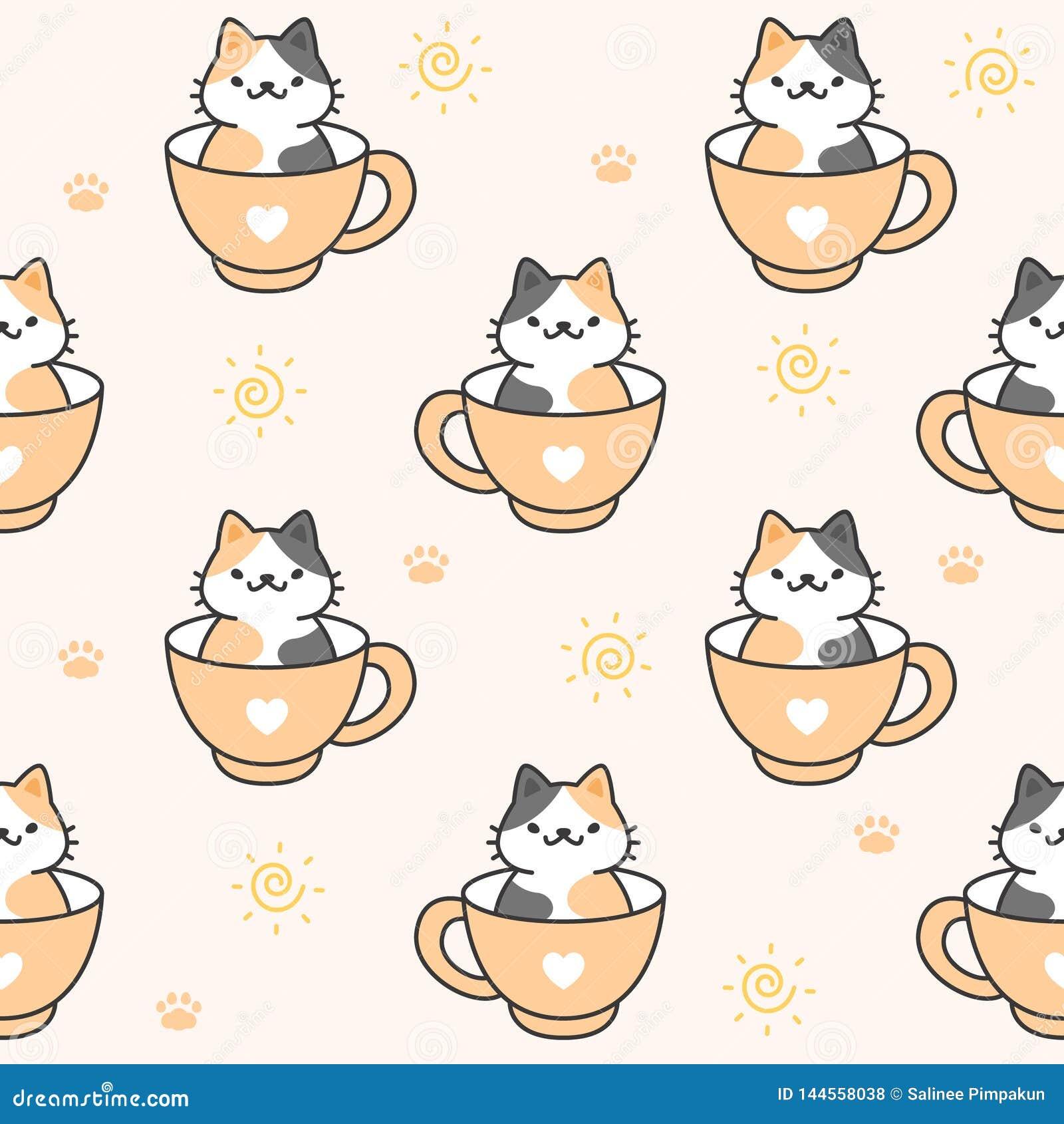 Gato bonito em um fundo sem emenda do teste padrão da xícara de café