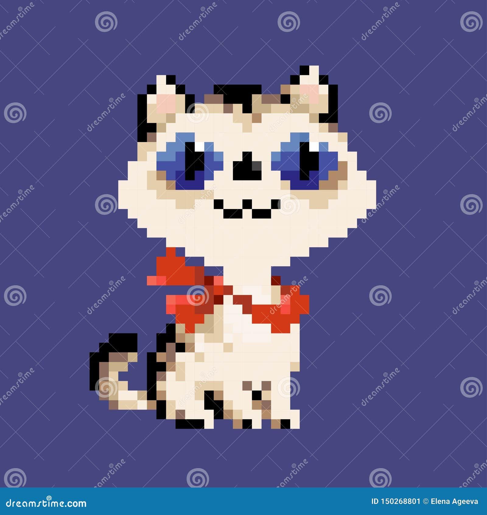 Gato branco da arte do pixel do vetor no lenço vermelho