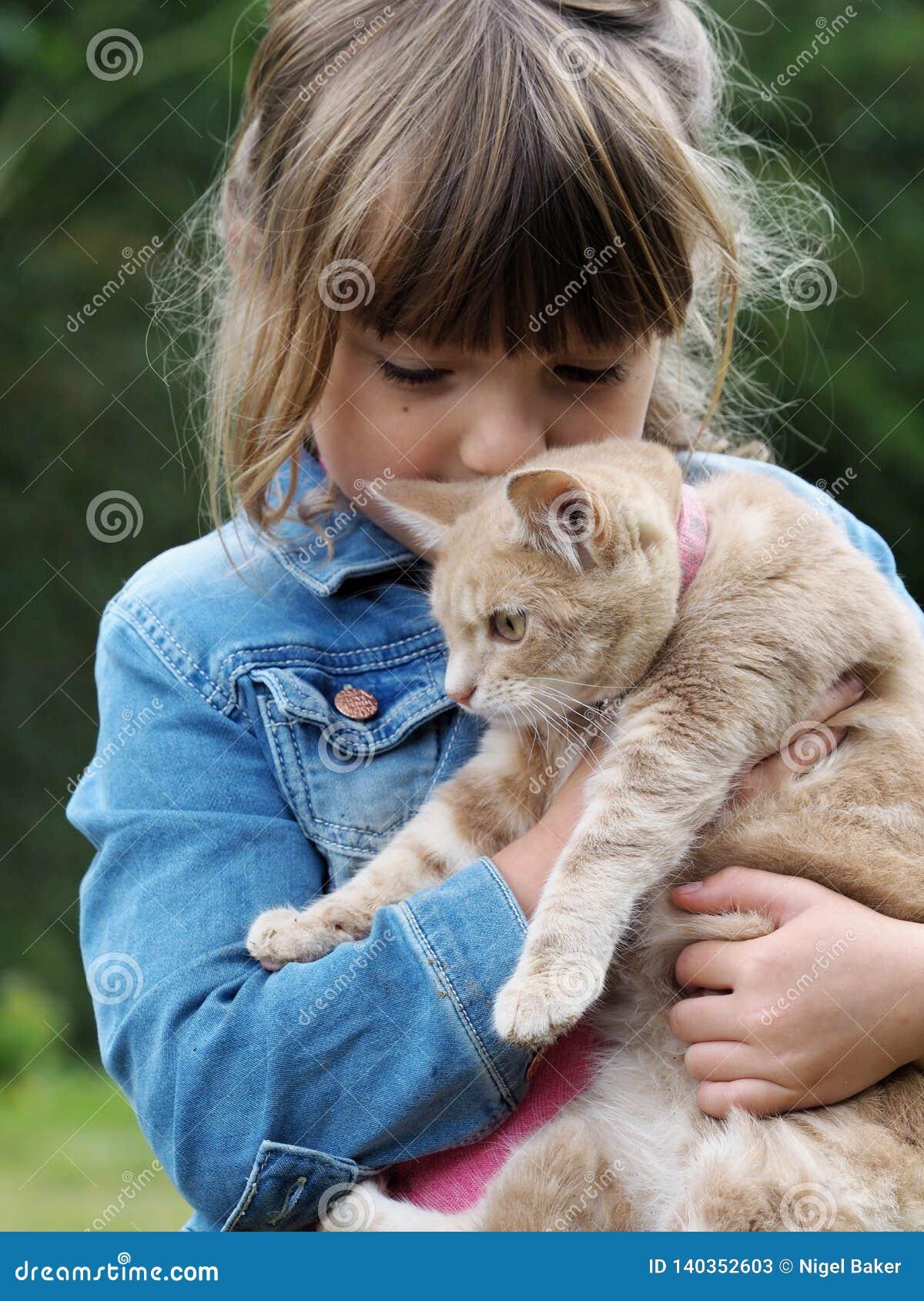 Gato de la chica joven y del animal dom?stico