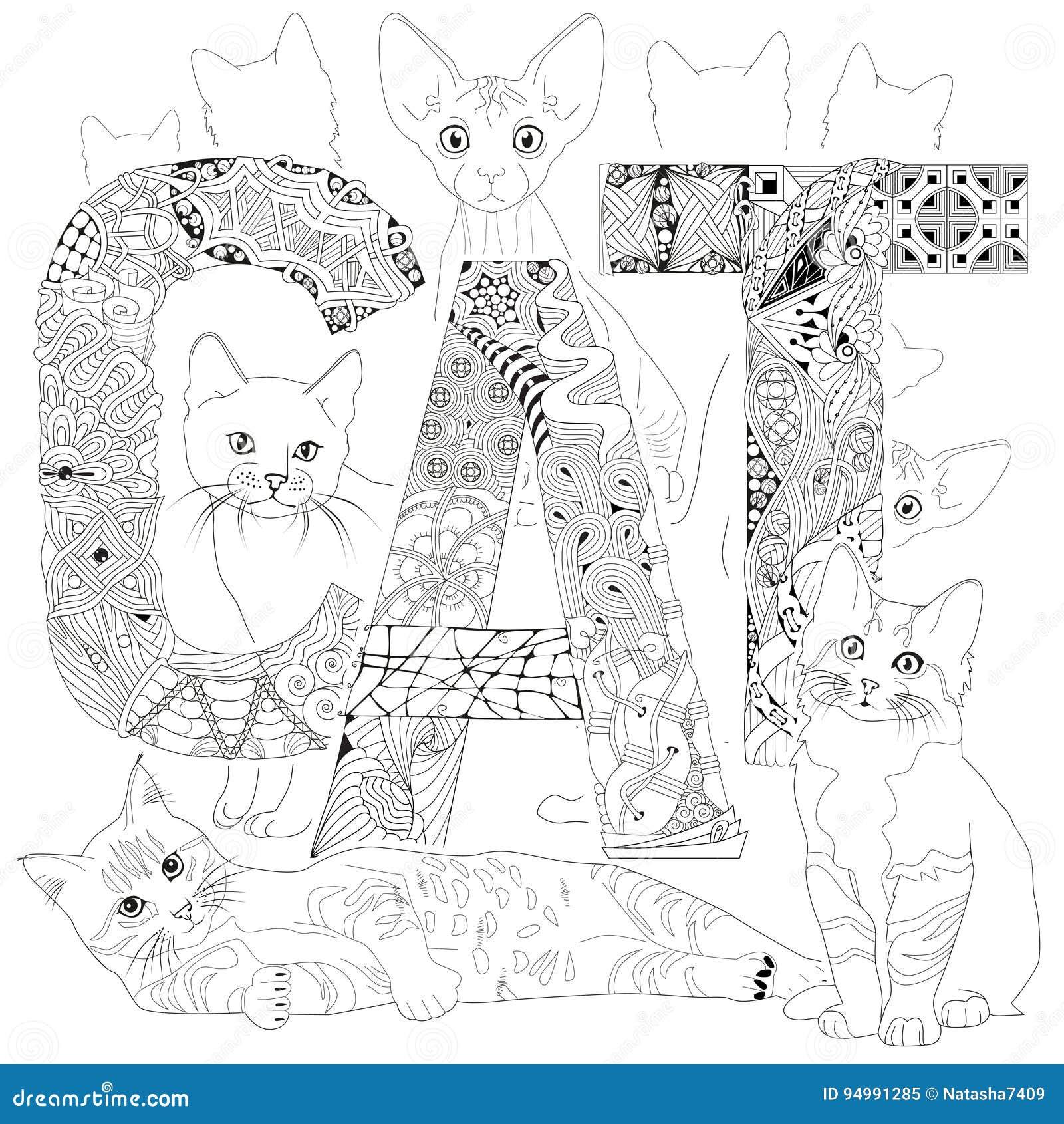 Gato De La Palabra Para Colorear Objetos Decorativos Del Zentangle ...