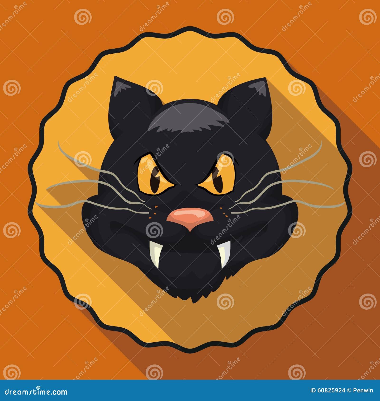 Gato del estilo de la historieta en el icono largo plano de la sombra, ejemplo del vector
