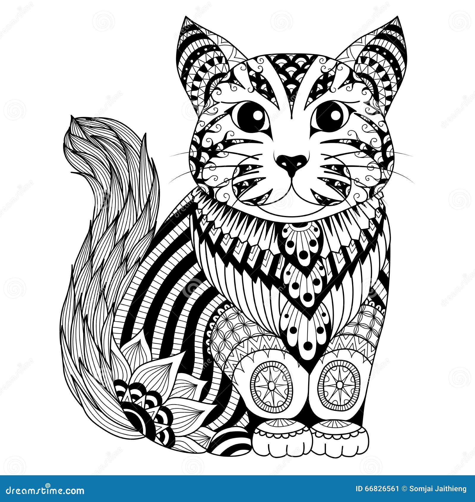 Ausmalbilder Fidget Spinner: Gato Del Zentangle Del Dibujo Para La Página, El Efecto