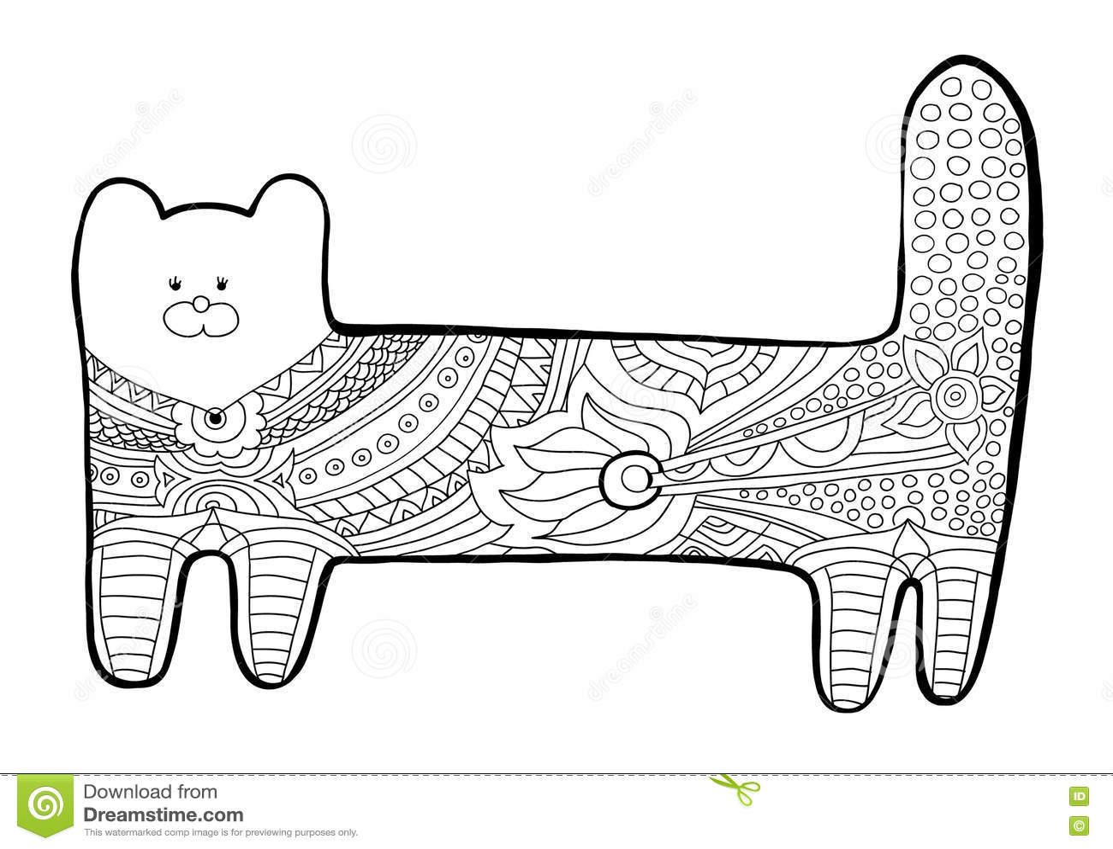 Gato Divertido Libro De Colorear Para Los Adultos Modelo Blanco Y ...