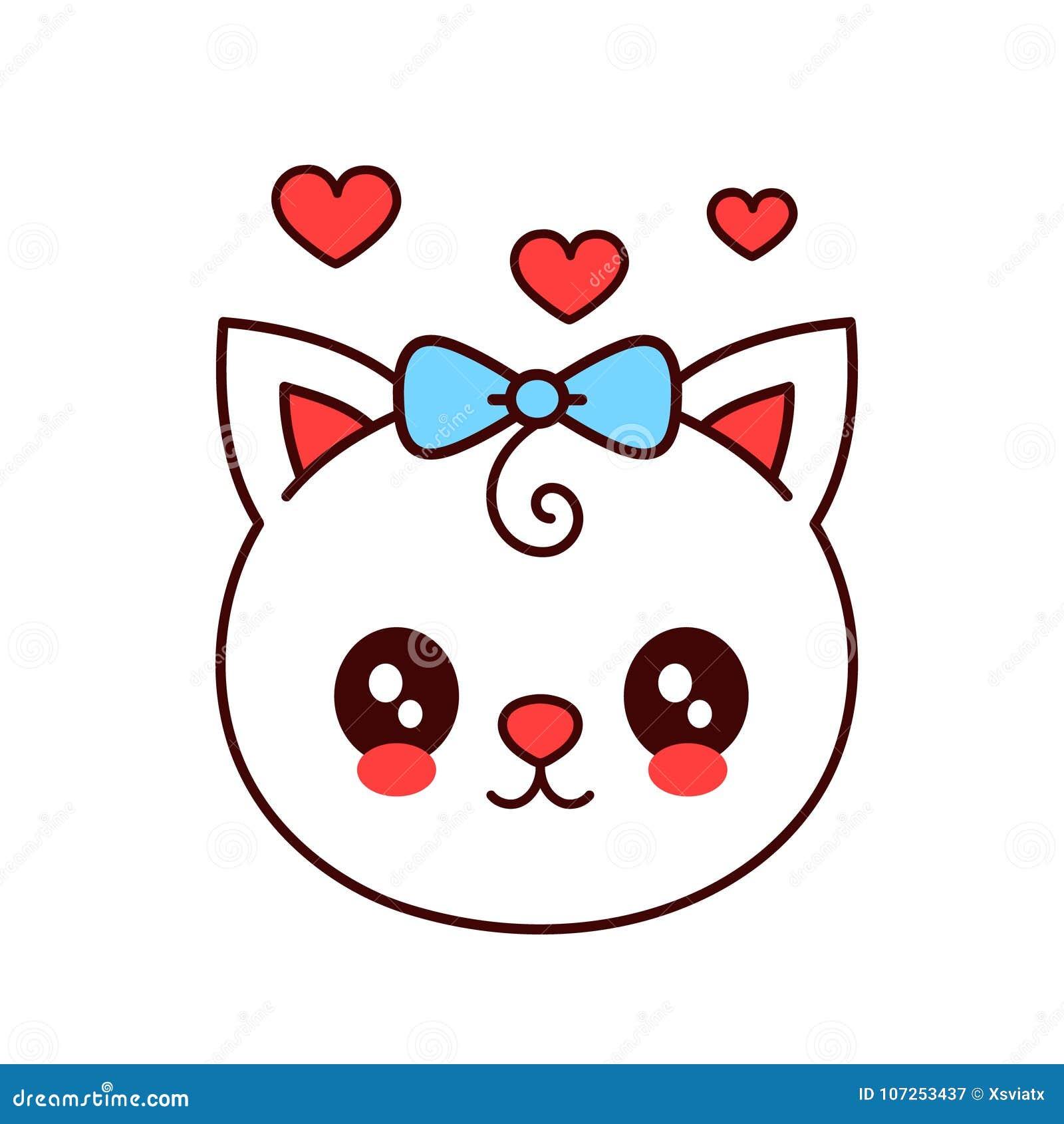 Gato divertido sonriente lindo, cara del gatito Vector