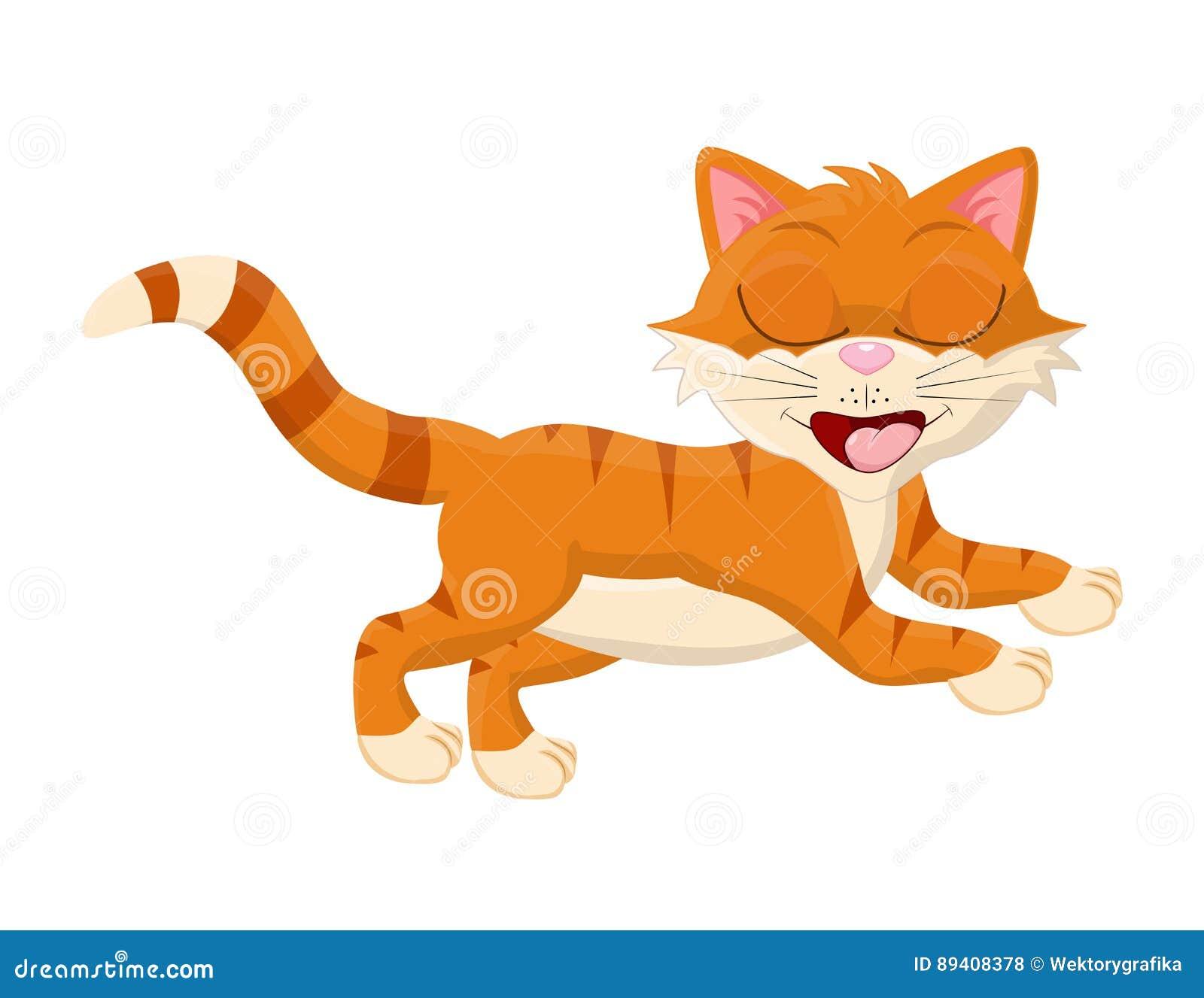 Gato dos desenhos animados com projeto fechado do ícone do símbolo do vetor dos olhos