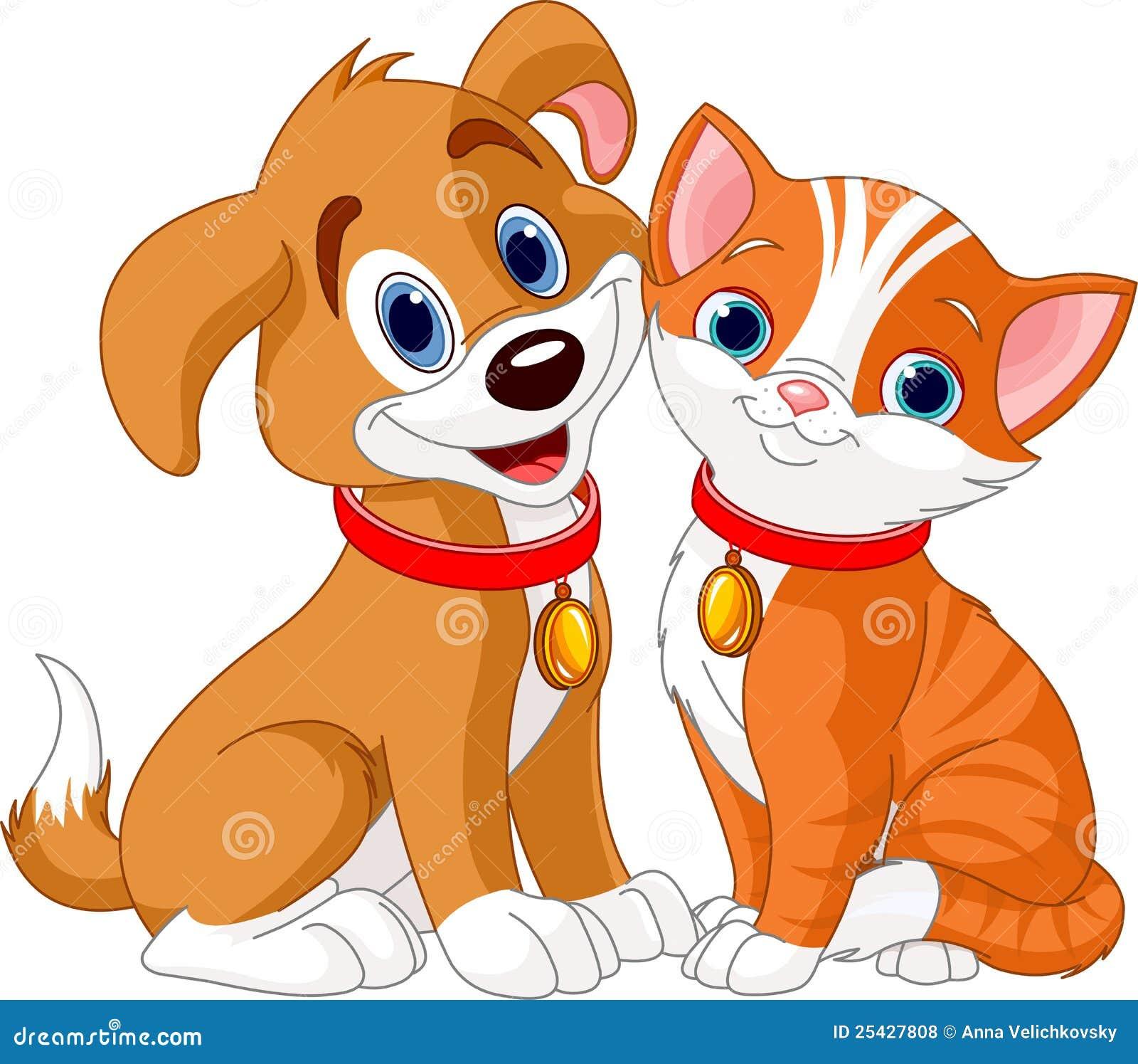 Gato E Cão Ilustração Do Vetor. Ilustração De Cão, Cauda