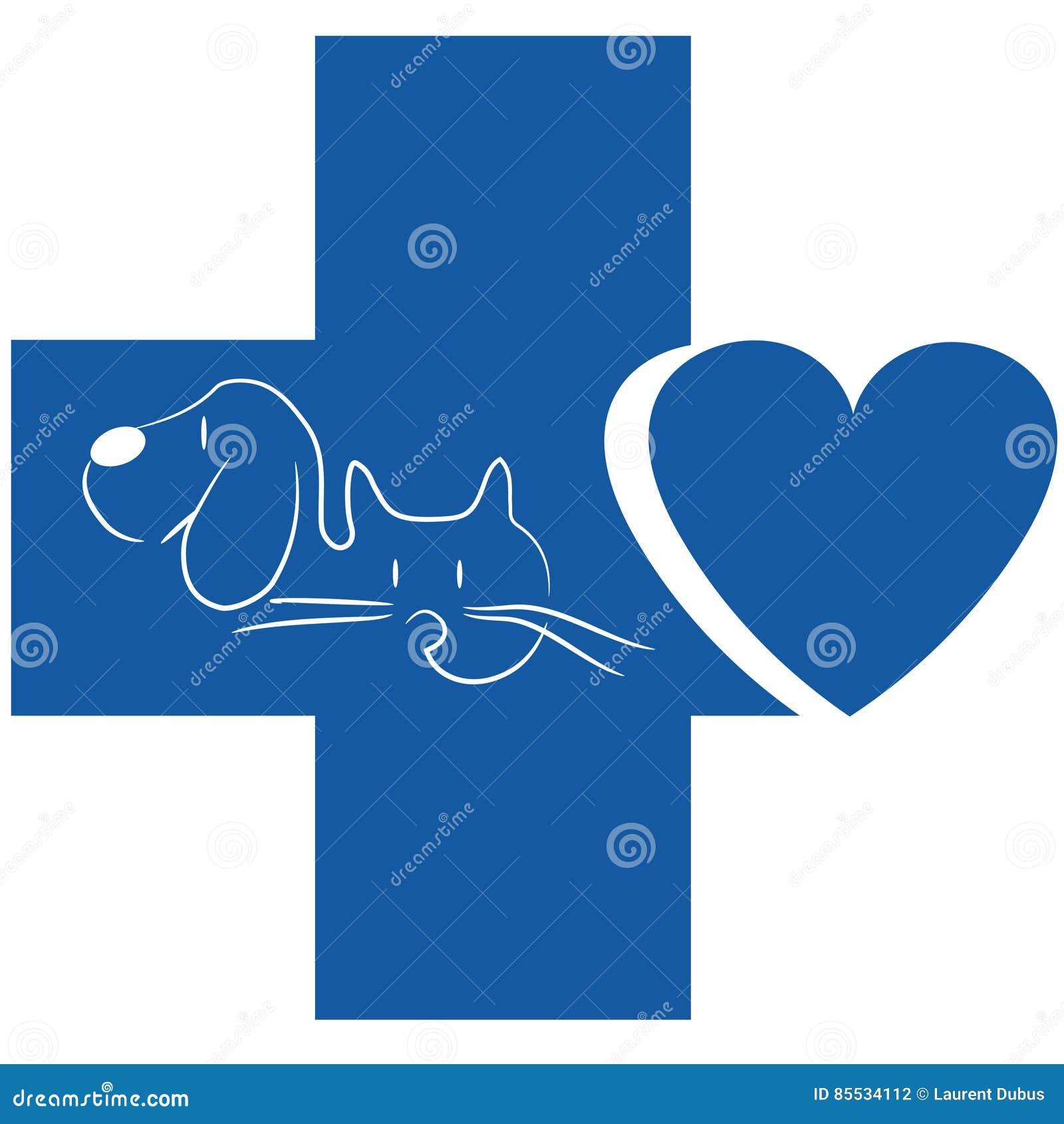 Gato e cão - logotipo veterinário