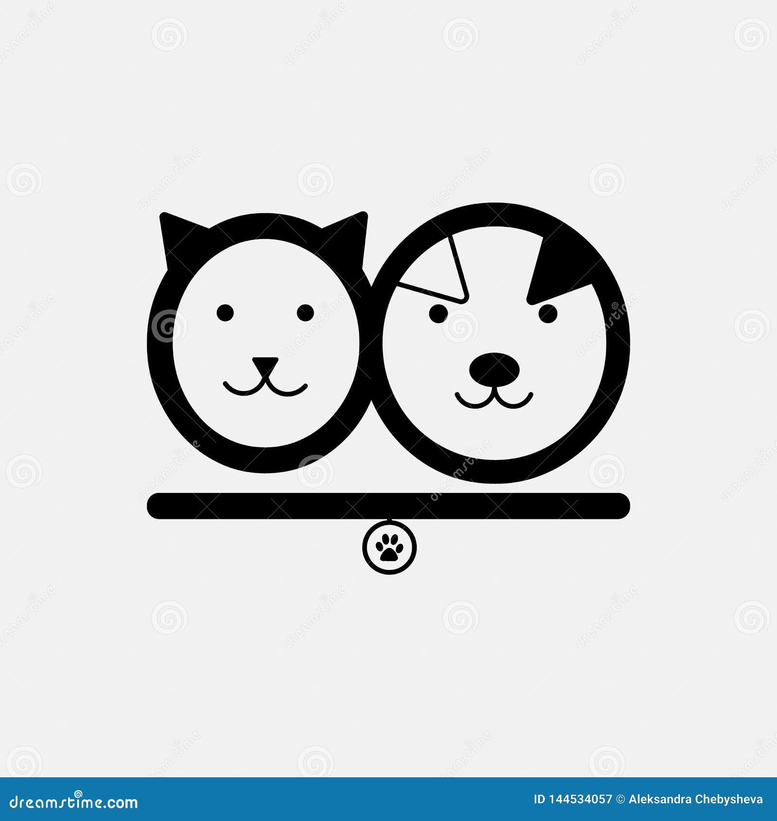 Gato e cão Molde do logotipo da loja de animais de estimação no vetor Emblema do abrigo animal, elementos do projeto da etiqueta