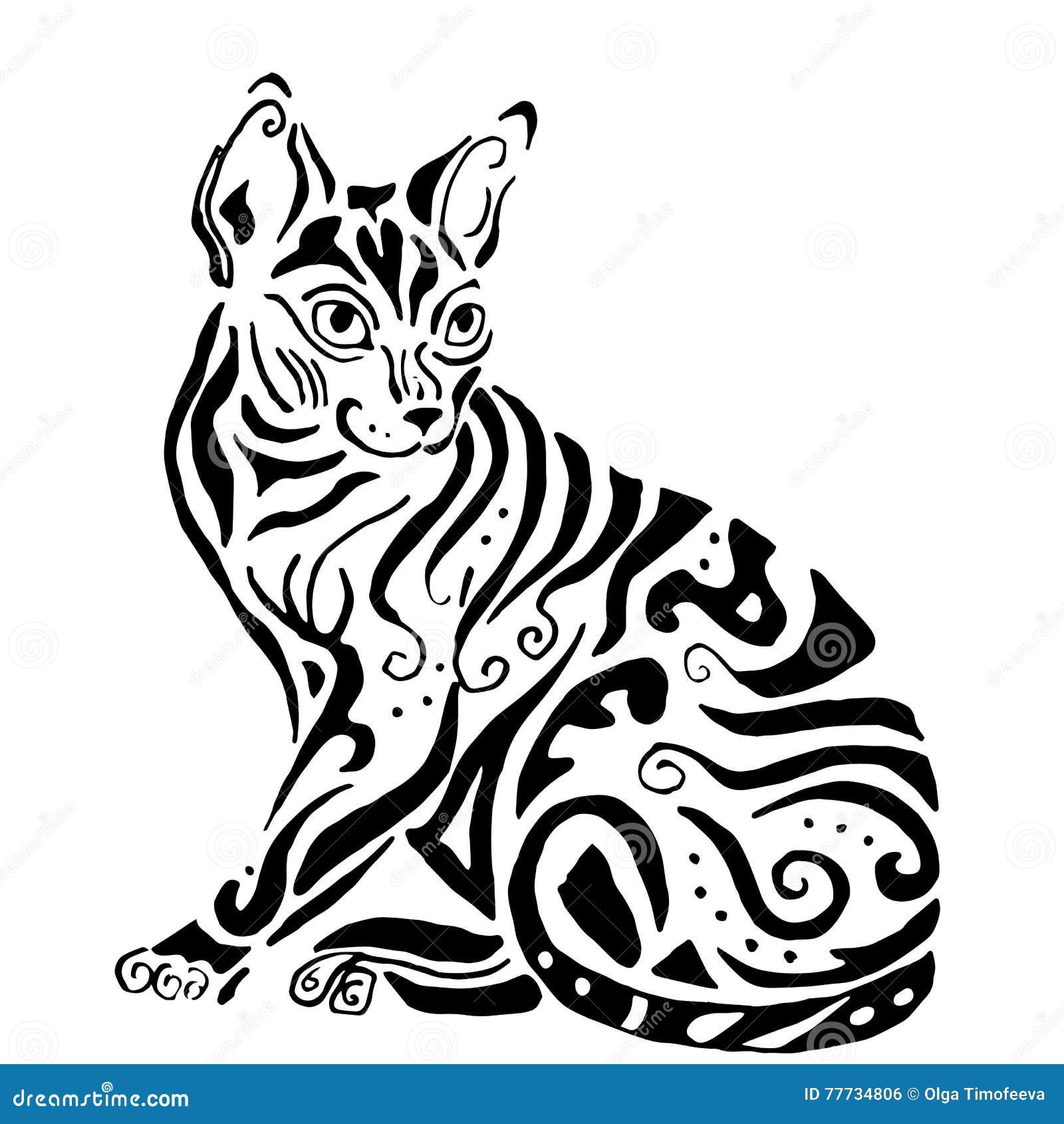 Gato Egipcio De La Calidad De Hiqh Para Colorear Ilustración del ...
