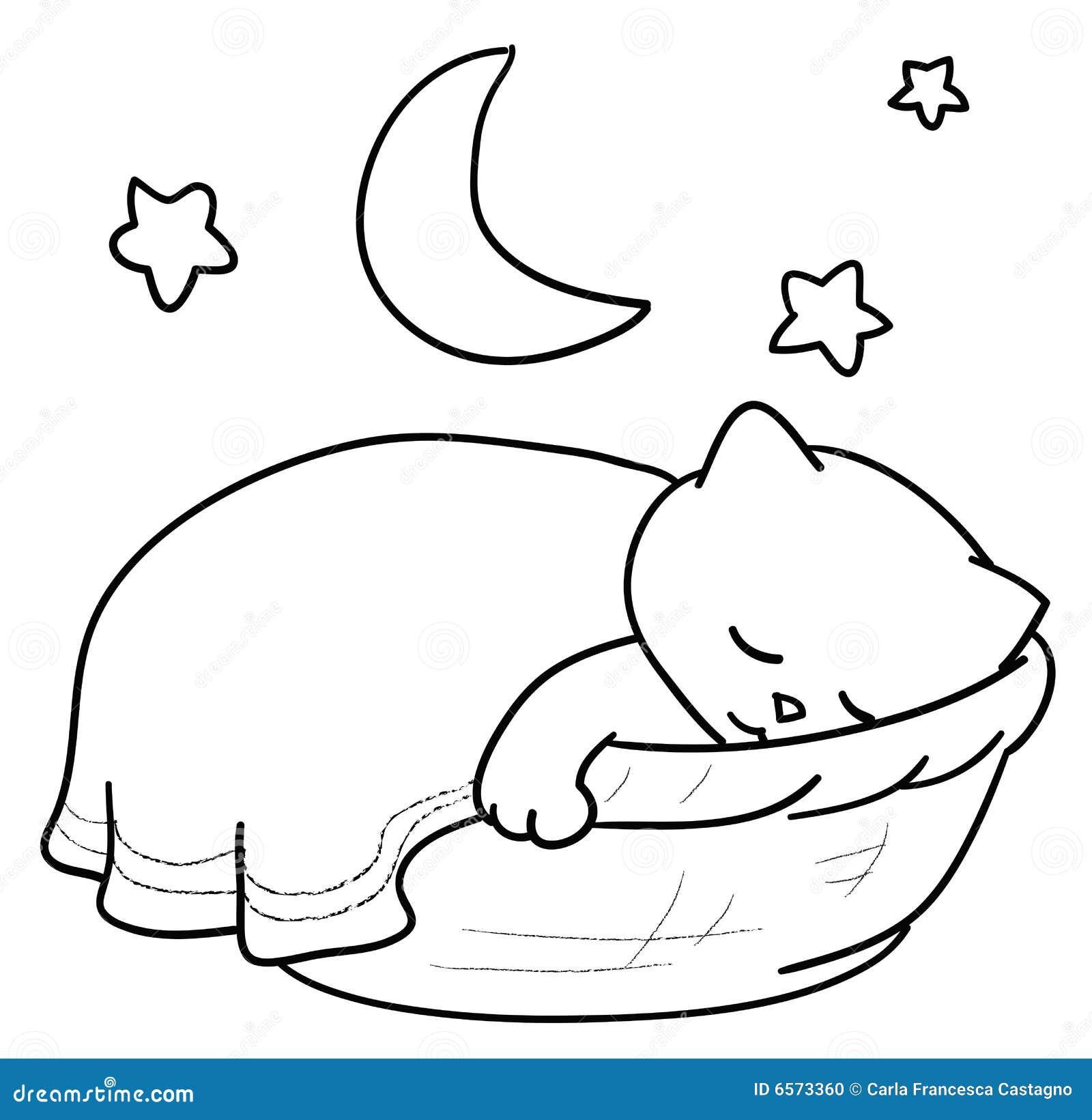 Gato el dormir ilustración del vector. Ilustración de ...Nap Time Clip Art Black And White