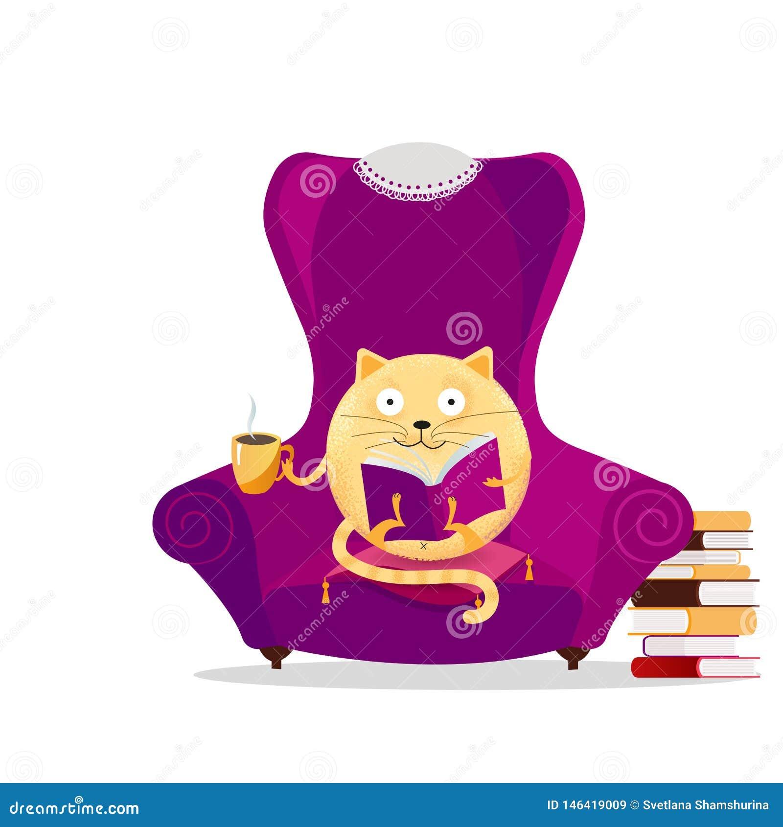 Gato exhausto de la ronda de la fantasía de la mano que se sienta en butaca y libro de lectura púrpuras grandes Concepto de lectu