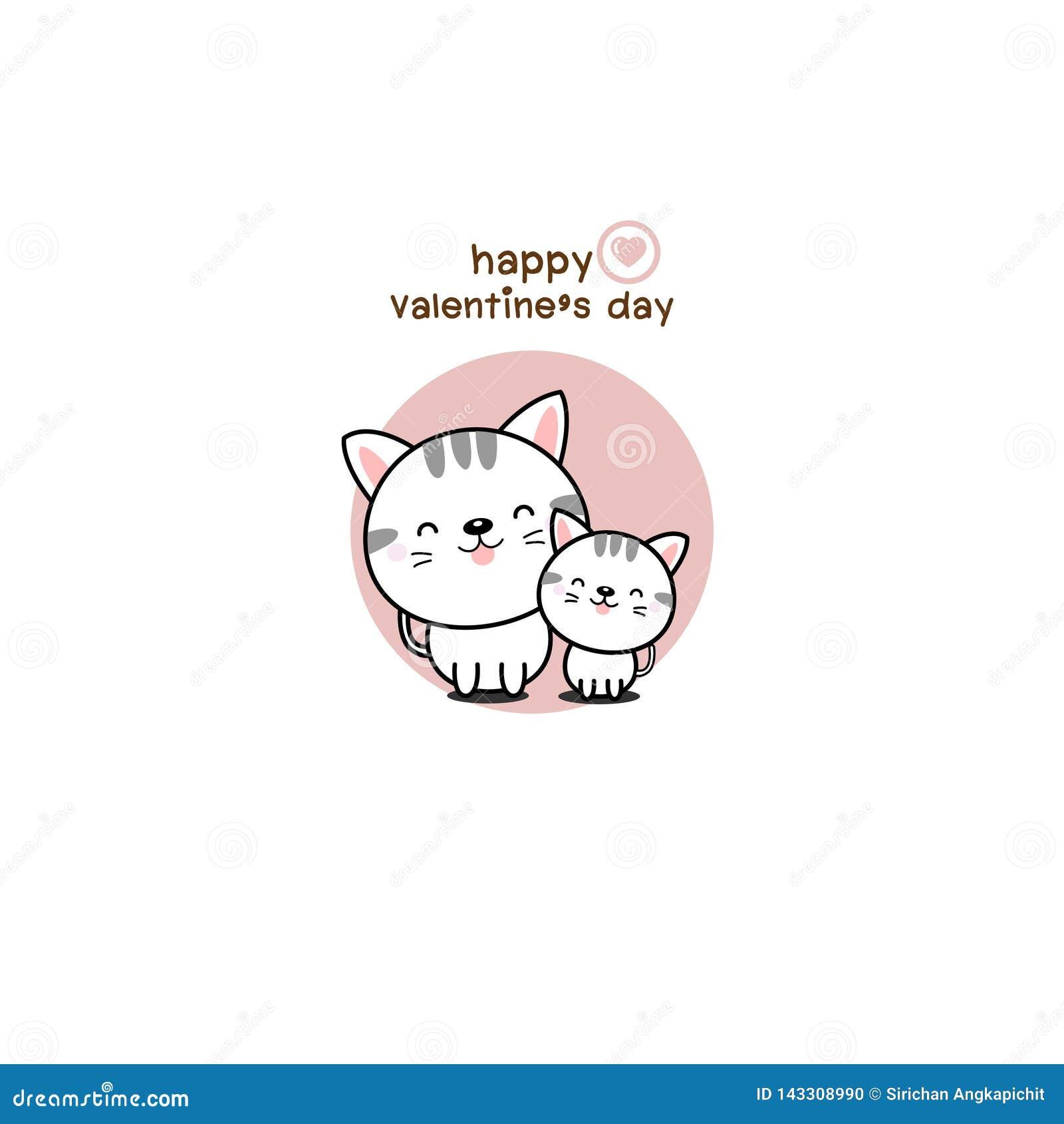 Gato feliz del amor de los pares de d?a de San Valent?n