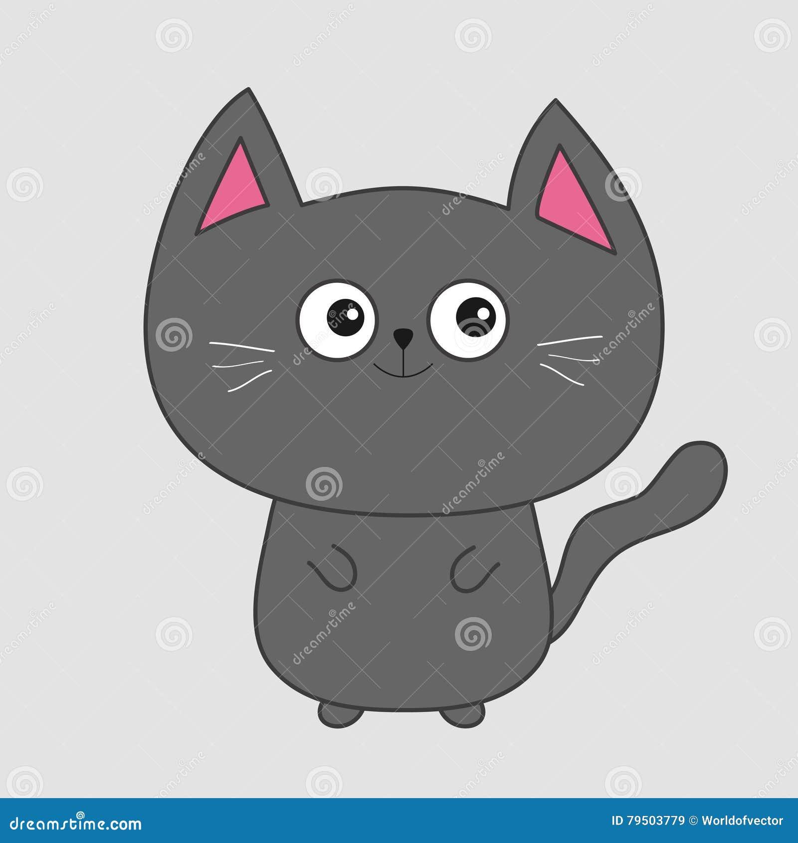 Gato Gris Del Contorno Con Los Ojos Grandes Oídos Rosados
